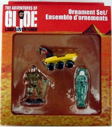 GI Joe Land Adventurer 3 piece Christmas ornament set